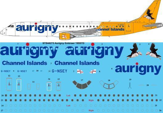 26 Decals 1/144 Aurigny Embraer 195 # STS44273