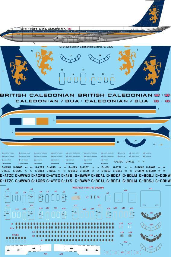 26 Decals 1/144 British Caledonian/Caledonian BUA Boeing 707-320C # STS44260