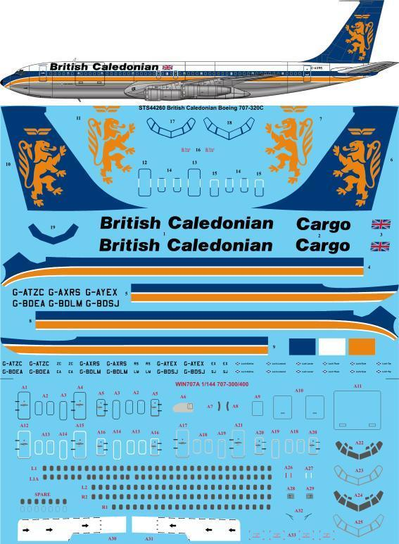26 Decals 1/144 British Caledonian late Boeing 707-320C # STS44263
