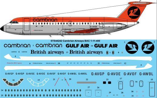 26 Decals 1/144 Cambrian BAC 111-400 # STS44242