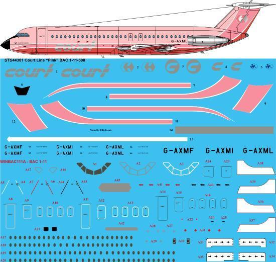 26 Decals 1/144 Court Line Pink BAC 1-11-500 # STS44301