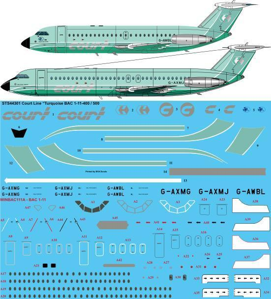 26 Decals 1/144 Court Line Turquoise BAC 1-11-500/400 # STS44302