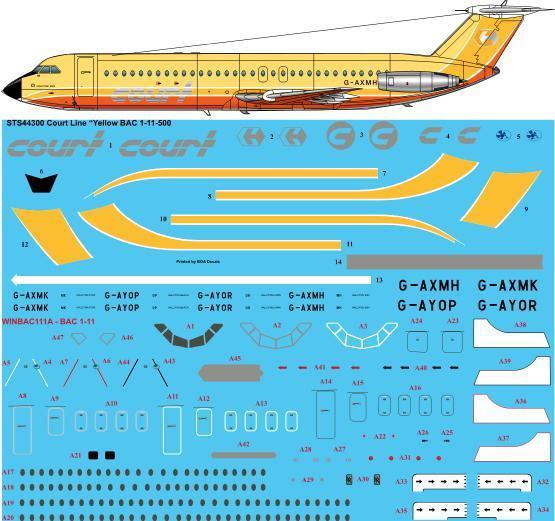 26 Decals 1/144 Court Line Yellow BAC 1-11-500 # STS44300