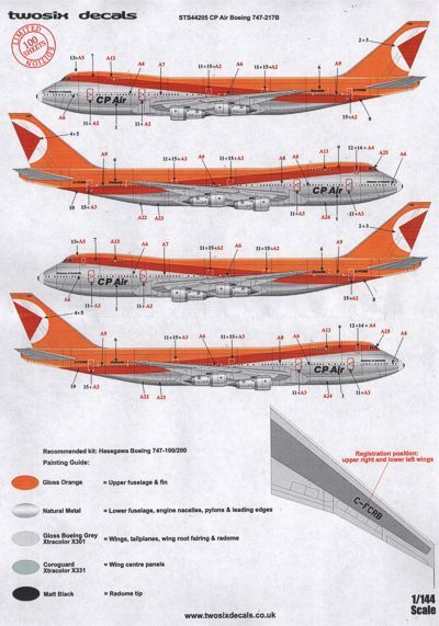 26 Decals 1/144 CP Air Boeing 747-217B # STS44205