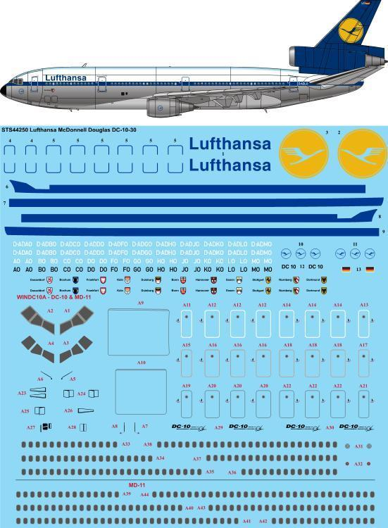 26 Decals 1/144 McDonnell-Douglas DC-10-30 Lufthansa Delivery # STS44250