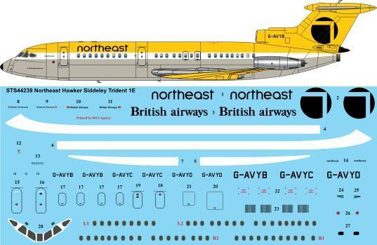 26 Decals 1/144 Northeast Hawker-Siddeley Trident 1E # STS44239