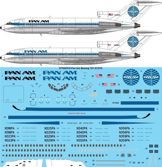 26 Decals 1/144 Pan Am Late Boeing 727-21/21C # STS44316