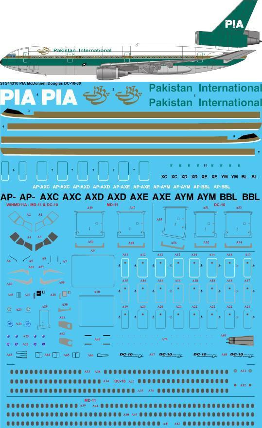26 Decals 1/144 PIA 1980s McDonnell-Douglas DC-10-30 # STS44310