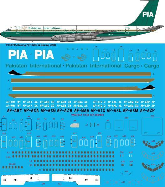 26 Decals 1/144 PIA Pakistan International 1980s Boeing 707-320C # STS44307