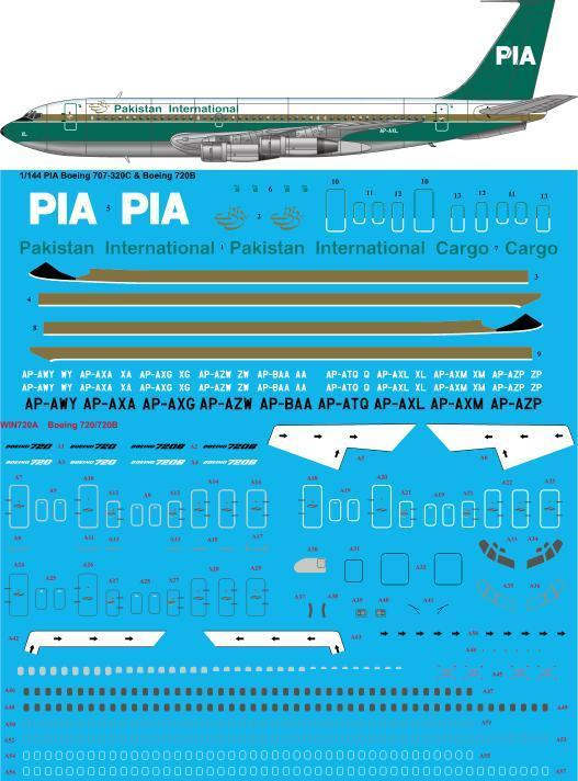 26 Decals 1/144 PIA Pakistan International 1980s Boeing 720B # STS44308