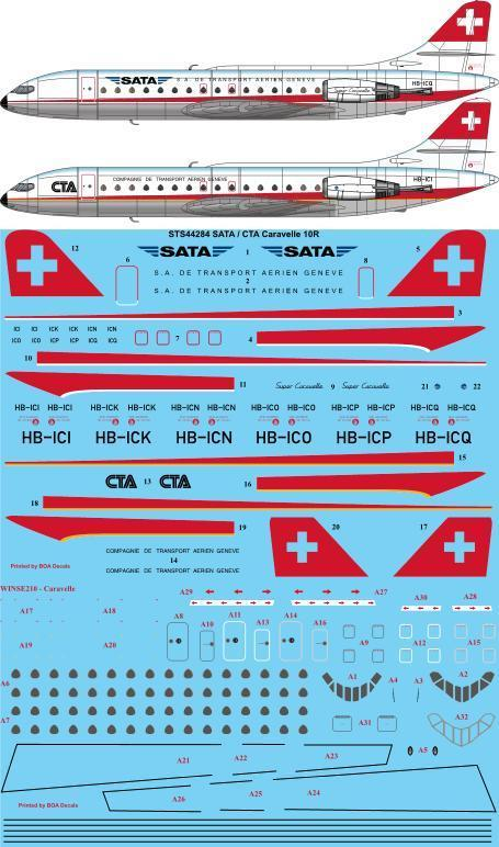 26 Decals 1/144 SATA / CTA Caravelle 10R # STS44284