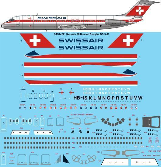 26 Decals 1/144 Swissair delivery Douglas DC-9-51 # STS44221