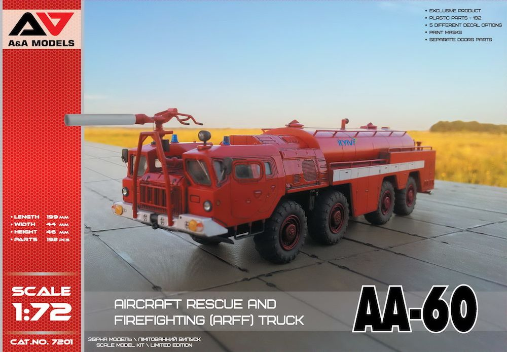 A & A Models 1/72 AA-60 Aircraft Rescue and Firefighting (ARFF) Truck # 7201