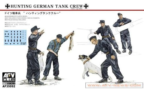 AFV 1/35 German Hunting Crew 5 Figures w/Dogs & Rabbits # 35092
