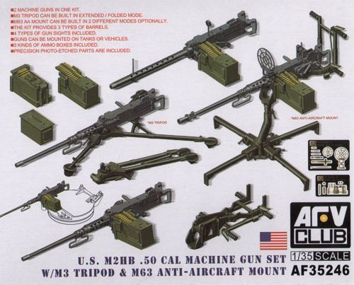 AFV Club 1/35 M2HB .50 Cal Gun Set with M3 Tripod & M63 AA Mount # 35246