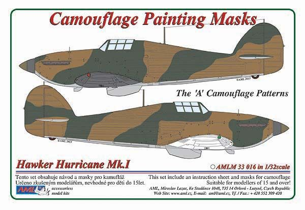 "AML 1/32 Hawker Hurricane Mk.I The ""A"" Camouflage Patterns Painting Masks # M3316"