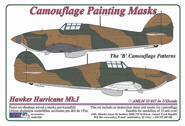 "AML 1/32 Hawker Hurricane Mk.I The ""B"" Camouflage Patterns Painting Masks # M3317"