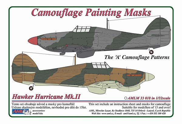 "AML 1/32 Hawker Hurricane Mk.II The ""A"" Camouflage Patterns Painting Masks # M3318"