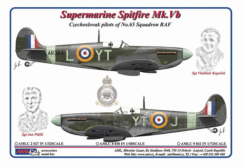 AML 1/32 Supermarine Spitfire Mk.Vb Czechoslovak Pilots of No.65 Squadron RAF Paint Mask # C2027