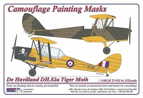 AML 1/32 de Havilland DH.82A/C Tiger Moth Camouflage Pattern Paint Mask + Bonus Decals # M3312