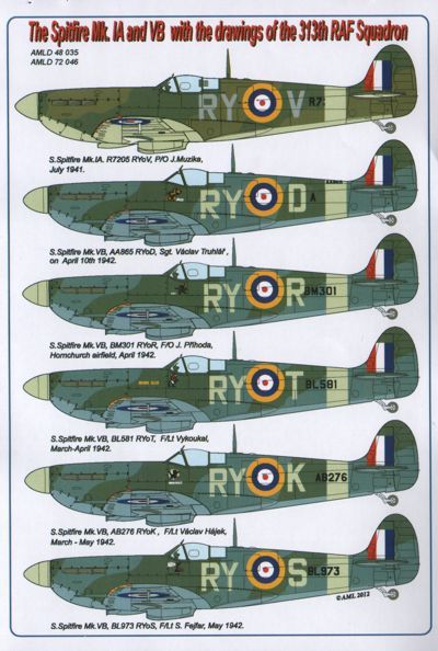 AML 1/72 Supermarine Spitfire Mk. Ia/Vb with drawings of 313th R