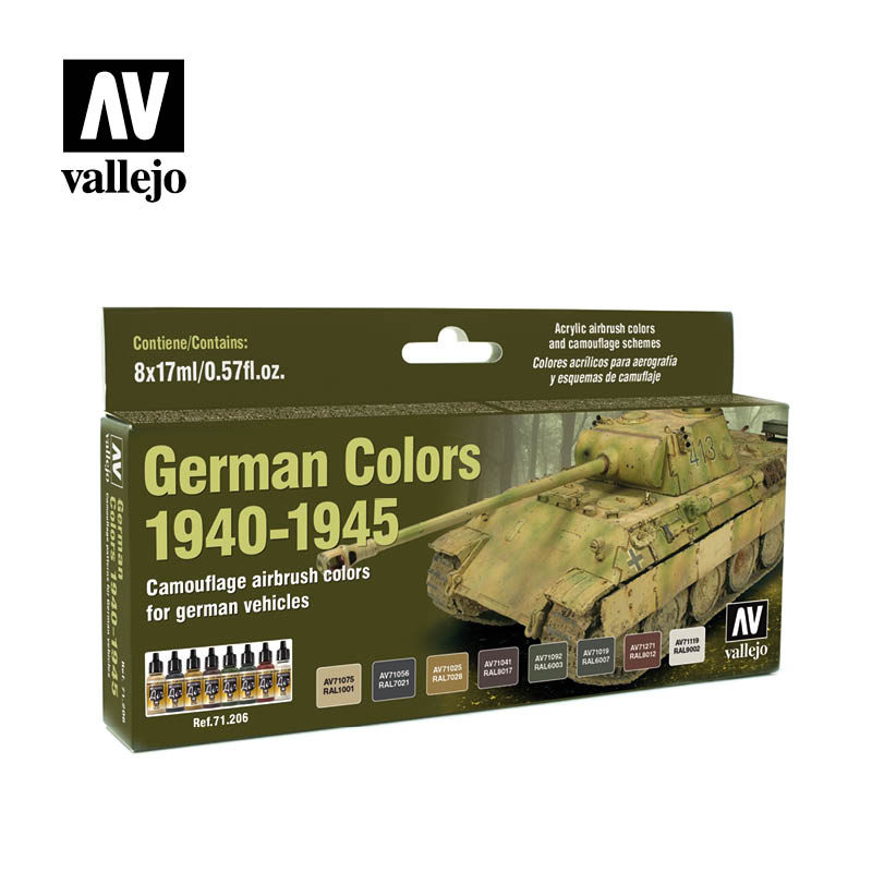 AV Vallejo - German Colors 1940-1945 Acrylic Paint Set # 71206
