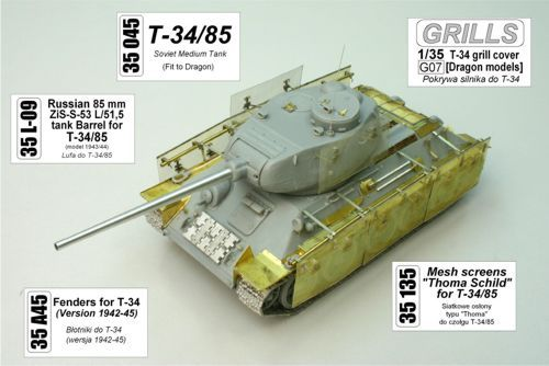 Aber 1/35 Fenders for Soviet T-34 1942-45 Version # 35A45