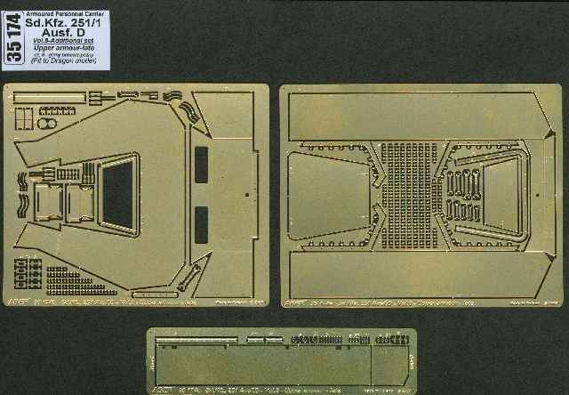 Aber 1/35 German Sd.Kfz.251/1 Ausf.D Vol.8 Upper Armour Plate Additional Detailing Set # 35174