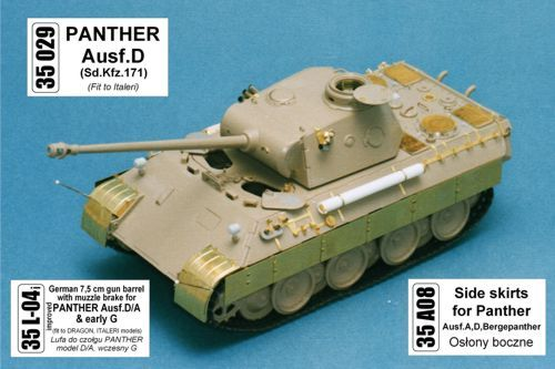 Aber 1/35 Pz.Kpfw.V Panther Ausf.A/D Bergepanther Side Skirts # 35A08