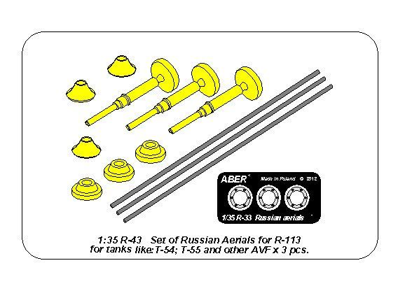 Aber 1/35 Set of Russian Aerials R-113 for Tanks like: T-54; T-55 & other AVF # R43