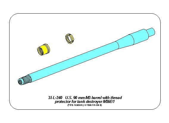 Aber 1/35 U.S 90mm M3 Barrel with Thread Protector for Tank Destroyer M36B1 # 35L240