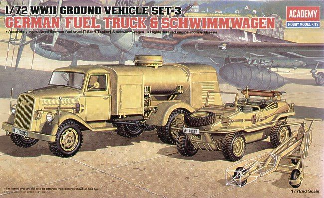 Academy 1/72 WWII Ground Vehicle Set-3 German Fuel Truck & Schwimmwagen # 13401
