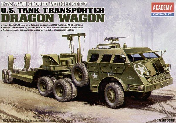 Academy 1/72 WWII Ground Vehicle Set-7 U.S. Tank Transporter Dragon Wagon # 13409