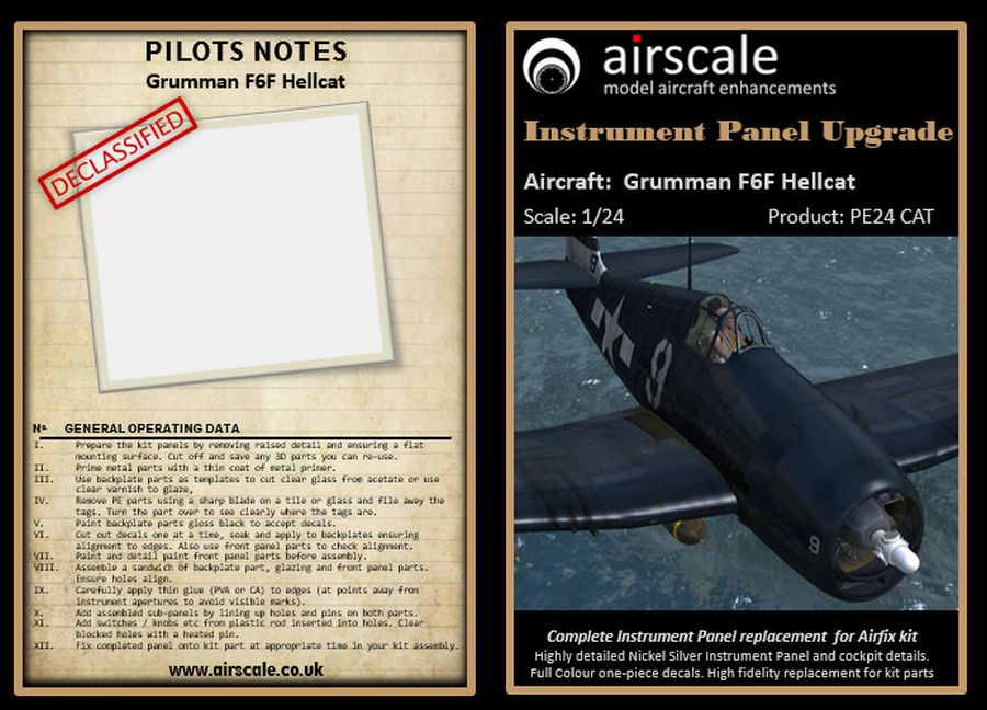 Airscale 1/24 Grumman F6F-5 Hellcat Photo-Etch & Decal Cockpit Upgrade # ASPE24CAT