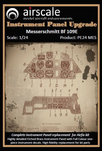 Airscale 1/24 Messerschmitt Bf-109E Multi-Media Instrument Panel # PE24MES