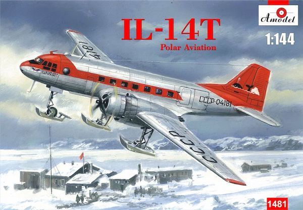 Amodel 1/144 Ilyushin Il-14T Polar Aviation on Skis # 1481