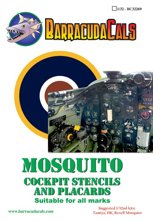 Barracuda Decals 1/32 de Havilland Mosquito Cockpit Stencils # 32269