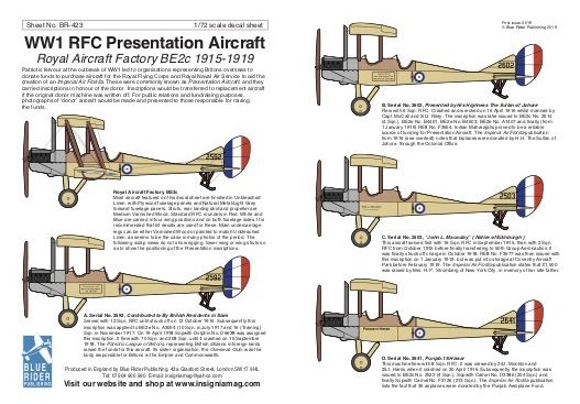 Blue Rider Decals 1/72 WWI Presentation Aircraft: Royal Aircraft Factory BE.2c 1915-1919 # 423
