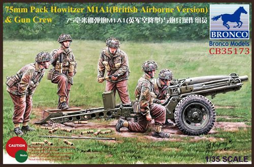 Bronco 1/35 75mm Pack Howitzer M1A1 (British Airborne Version) & Gun Crew # CB35173