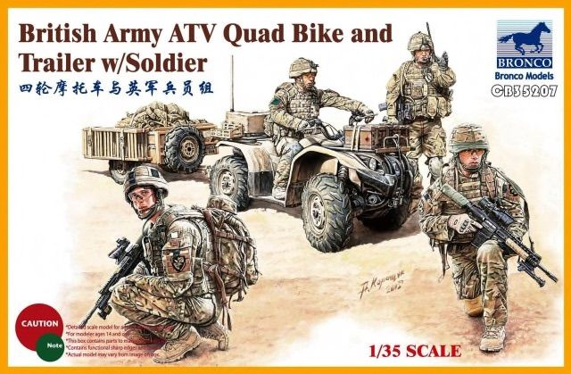 Bronco 1/35 British Army ATV Quad Bike and Trailer with Soldier # CB35207
