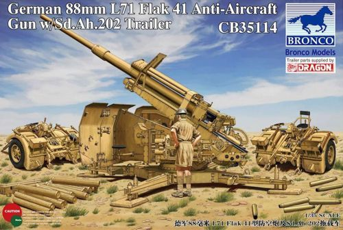 Bronco 1/35 German 88mm L71 Flak 41 Anti-Aircraft Gun with Sd.Ah.202 Trailer # CB35114