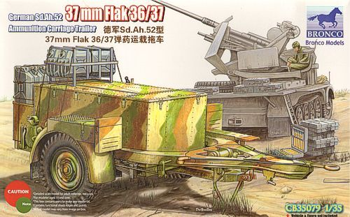 Bronco 1/35 German Sd.Ah.52 37mm Flak 36/37 Ammunition Carriage Trailer # CB35079