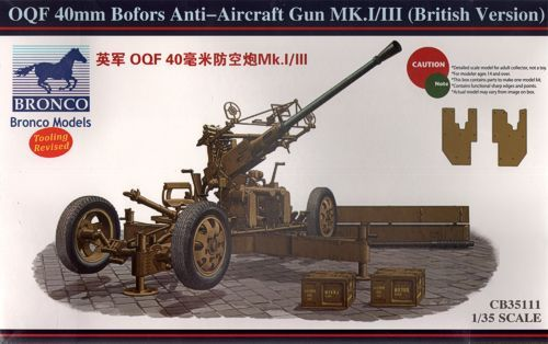 Bronco 1/35 OQF 40mm Bofors Anti-Aircraft Gun Mk.I/III(British Version) # CB35111