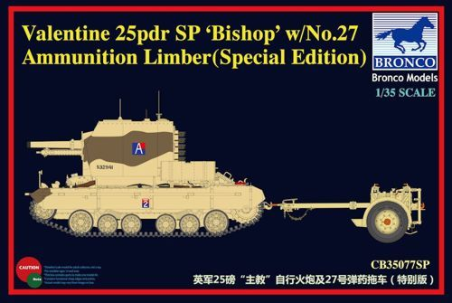 Bronco 1/35 Valentine 25pdr SP 'Bishop' with No.27 Ammunition Limber (Special Edition) # CB35077SP