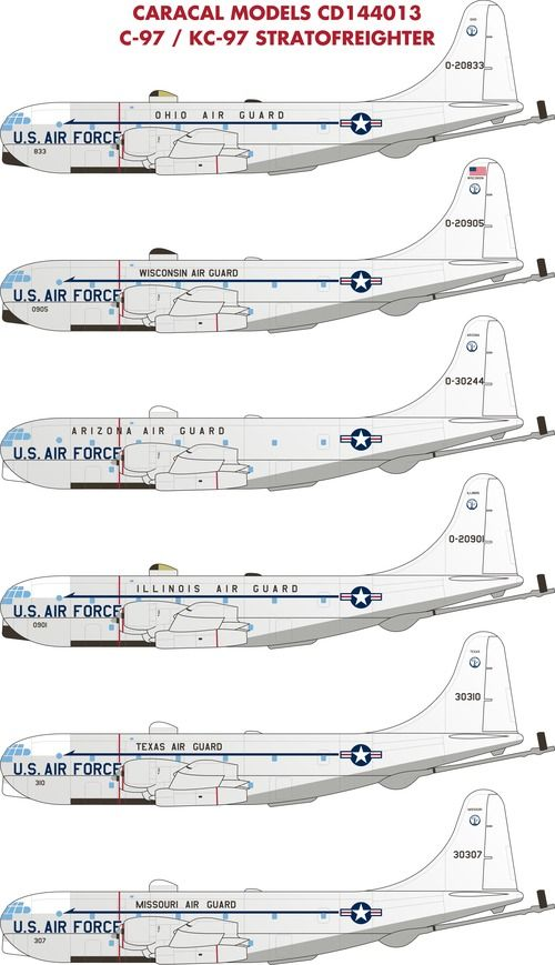 Caracal Decals 1/144 Boeing C-97/KC-97 Stratofreighter # 144013