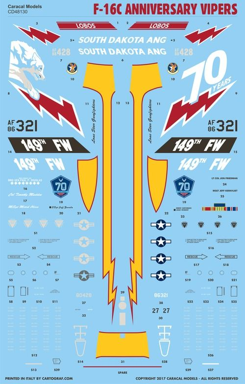 Caracal Decals 1/48 USAF Lockheed-Martin F-16C Anniversary Vipers # 48130