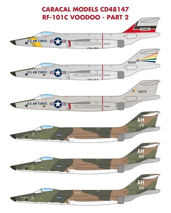 Caracal Decals 1/48 USAF McDonnell RF-101C Voodoo RF-101C Part 2 # 48147