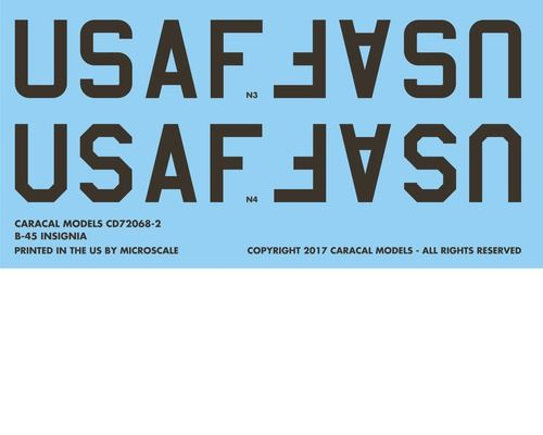 Caracal Decals 1/72 North-American RB-45 Tornado # 72069