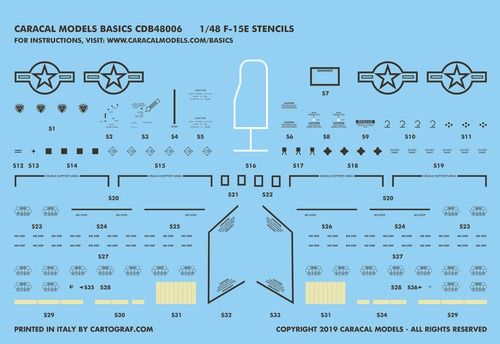 Caracal Decals Basic 1/48 McDonnell F-15E Eagle Stencils & National Insignia # B48006