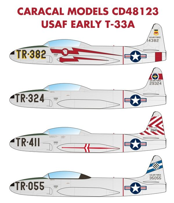 Caracal Models 1/48 USAF Early Lockheed T-33A Shooting Star # 48123